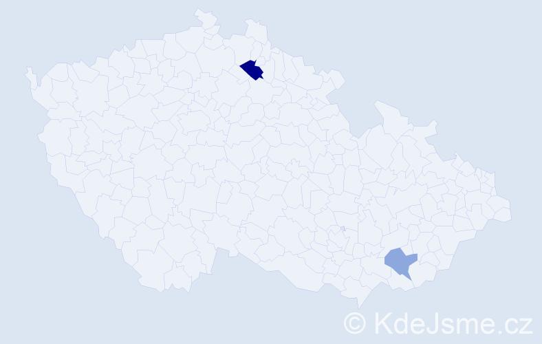 Příjmení: 'Kaan', počet výskytů 3 v celé ČR