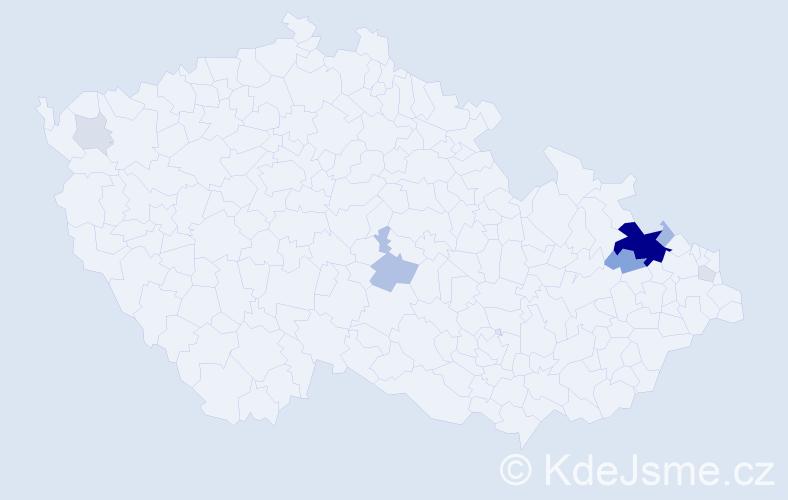 Příjmení: 'Ausficír', počet výskytů 30 v celé ČR
