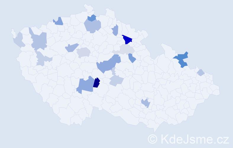 Příjmení: 'Kňákal', počet výskytů 52 v celé ČR