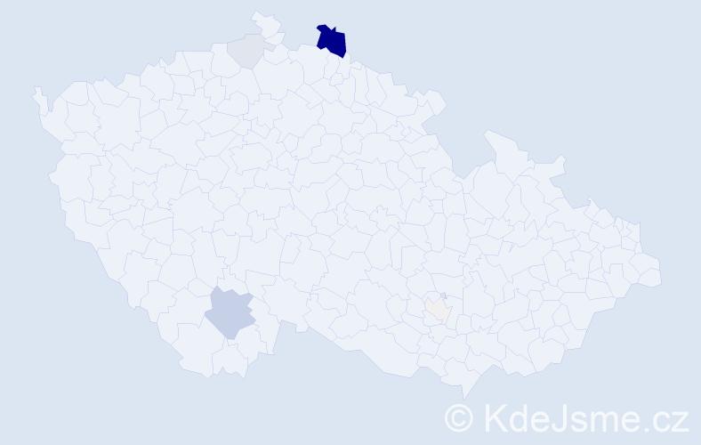 Příjmení: 'Ďuďa', počet výskytů 51 v celé ČR