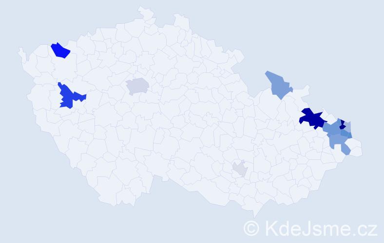 Příjmení: 'Konarská', počet výskytů 36 v celé ČR