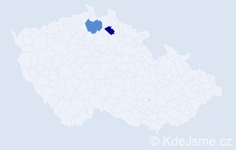 Příjmení: 'Deči', počet výskytů 6 v celé ČR