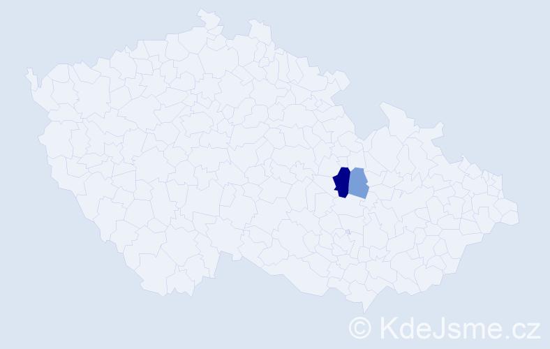 """Příjmení: '""""Cinová Šiváková""""', počet výskytů 5 v celé ČR"""