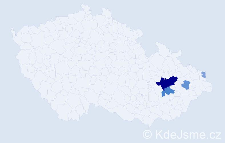 Příjmení: 'Juříčka', počet výskytů 10 v celé ČR