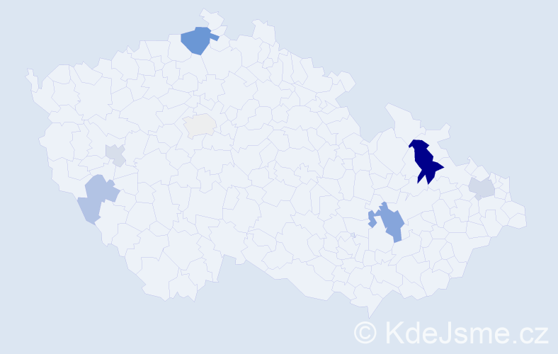 Příjmení: 'Dankovič', počet výskytů 18 v celé ČR