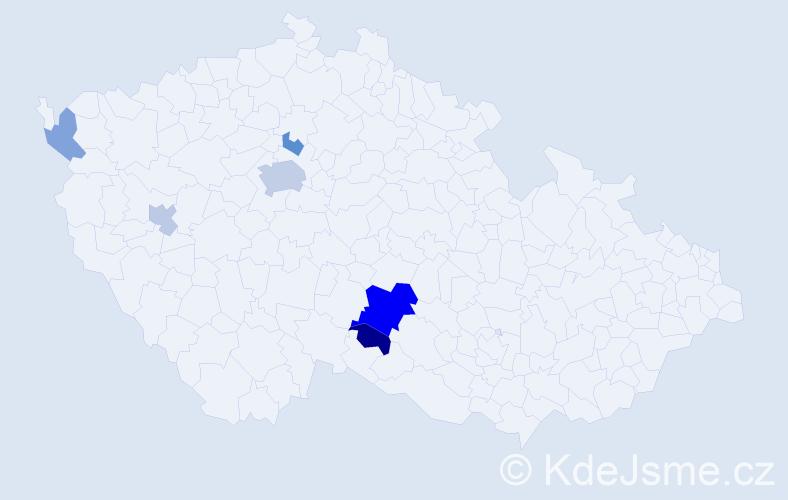 Příjmení: 'Ecker', počet výskytů 14 v celé ČR