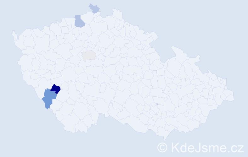 Příjmení: 'Achs', počet výskytů 12 v celé ČR