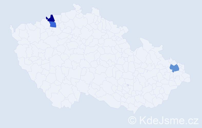 Příjmení: 'Chadžijski', počet výskytů 4 v celé ČR