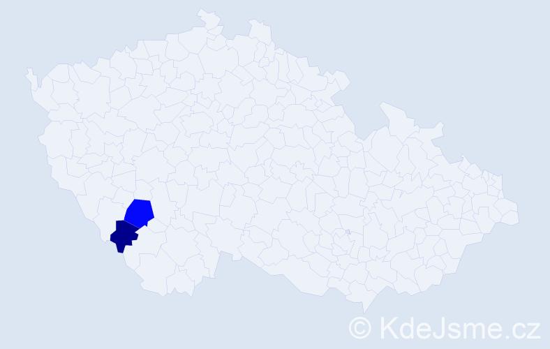 Příjmení: 'Civániová', počet výskytů 3 v celé ČR