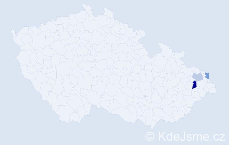 Příjmení: 'Čapláková', počet výskytů 4 v celé ČR