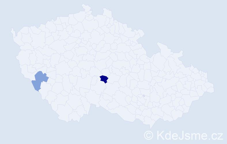 Příjmení: 'Hajčiarová', počet výskytů 7 v celé ČR