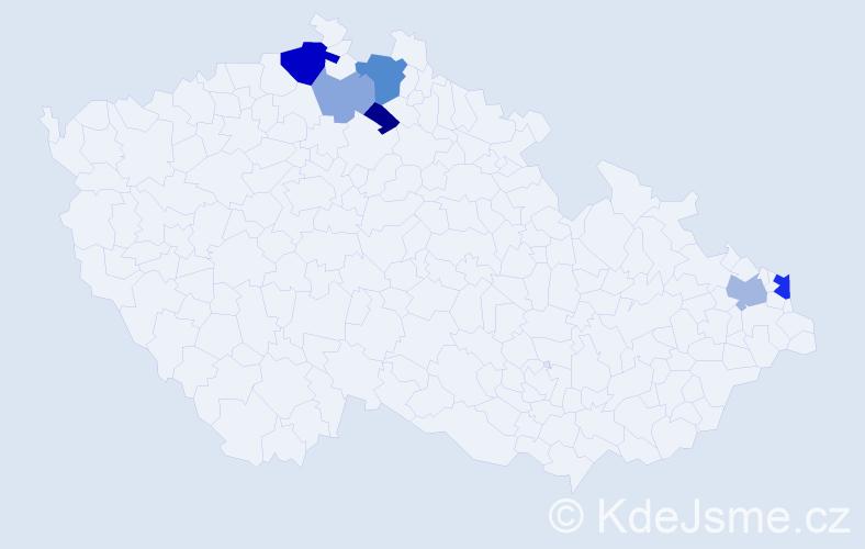 Příjmení: 'Eugel', počet výskytů 14 v celé ČR