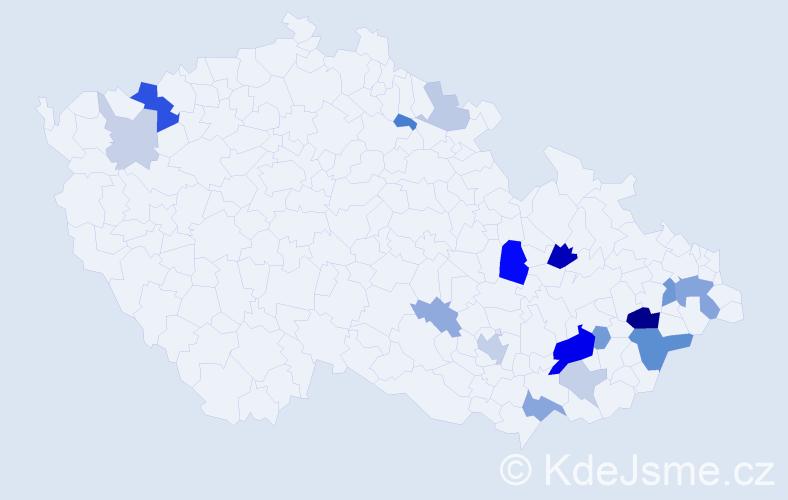 Příjmení: 'Bazalka', počet výskytů 44 v celé ČR