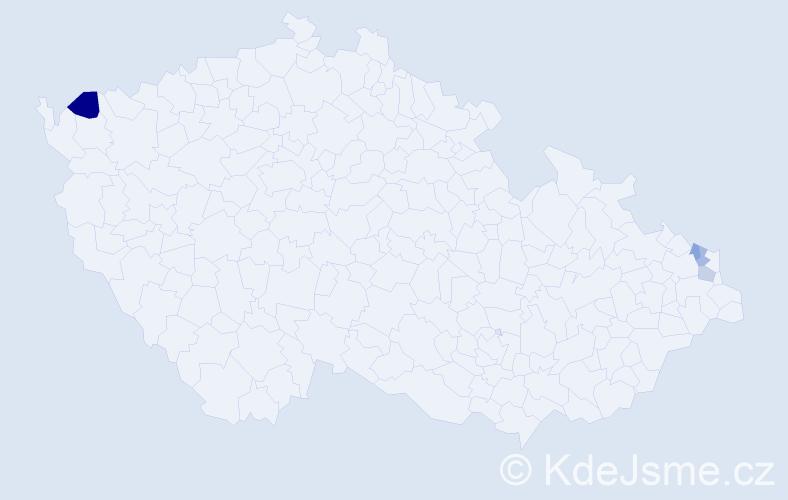 Příjmení: 'Germuška', počet výskytů 5 v celé ČR