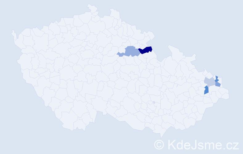 Příjmení: 'Čintalová', počet výskytů 6 v celé ČR