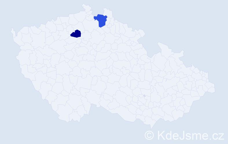 Příjmení: 'Cendrová', počet výskytů 3 v celé ČR