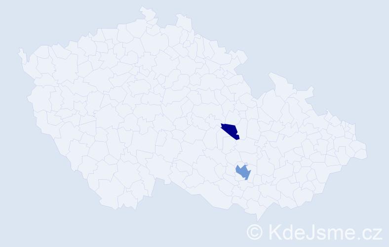Příjmení: 'Kahwaji', počet výskytů 5 v celé ČR