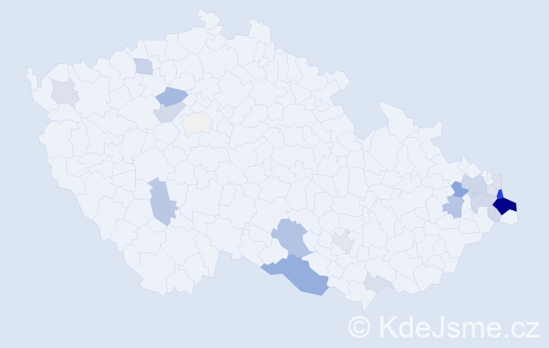Příjmení: 'Madeja', počet výskytů 59 v celé ČR