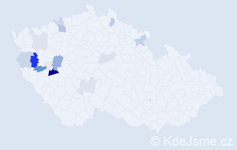 Příjmení: 'Bruha', počet výskytů 27 v celé ČR