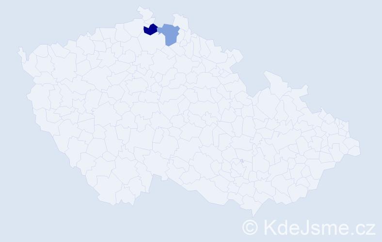 Příjmení: 'Iwanejková', počet výskytů 2 v celé ČR