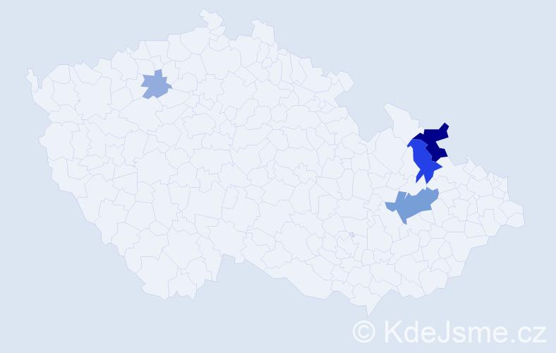 Příjmení: 'Čovejová', počet výskytů 13 v celé ČR