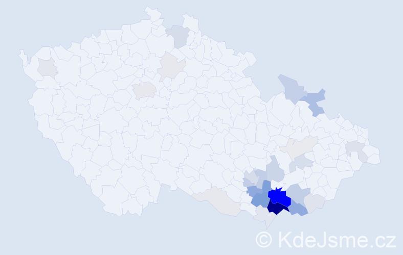 Příjmení: 'Lačňák', počet výskytů 111 v celé ČR