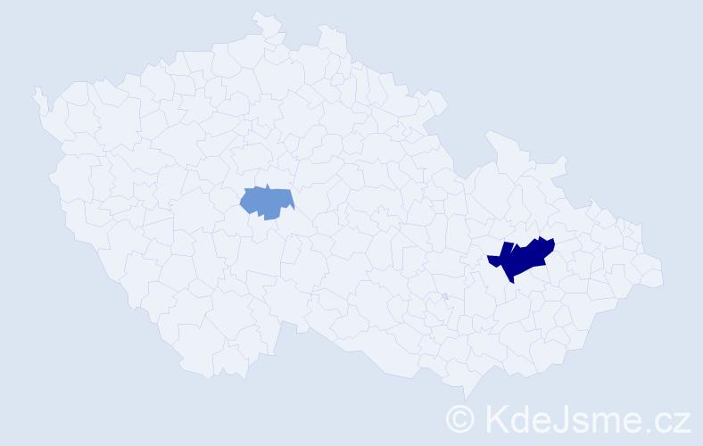 Příjmení: 'Démarová', počet výskytů 7 v celé ČR