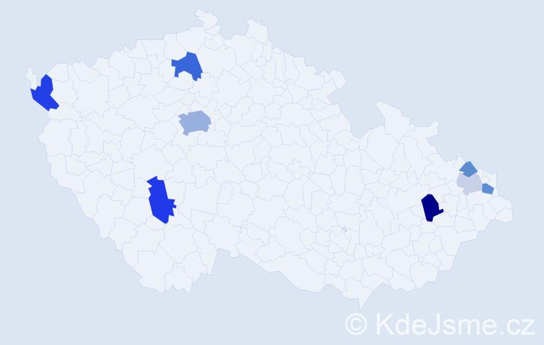 Příjmení: 'Durová', počet výskytů 19 v celé ČR