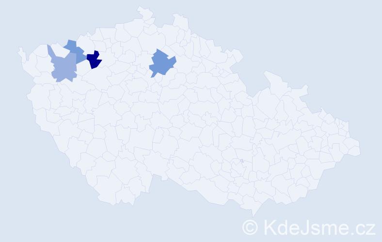 Příjmení: 'Hyke', počet výskytů 6 v celé ČR