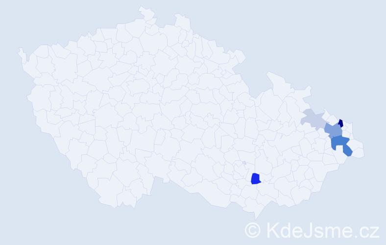 Příjmení: 'Fanfrla', počet výskytů 20 v celé ČR