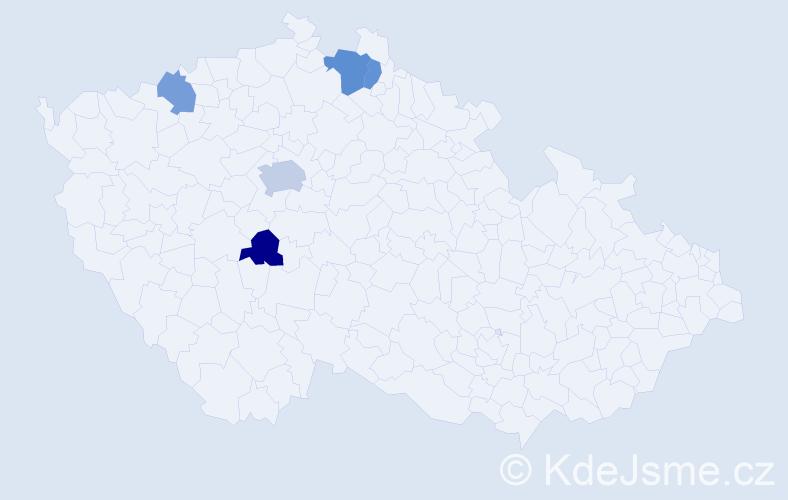 Příjmení: 'Hamarčák', počet výskytů 8 v celé ČR