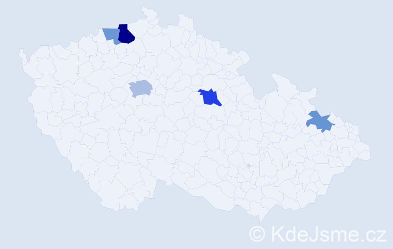 Příjmení: 'Hale', počet výskytů 10 v celé ČR