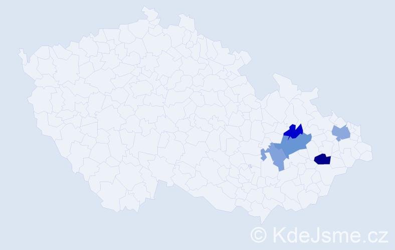 Příjmení: 'Červienka', počet výskytů 8 v celé ČR