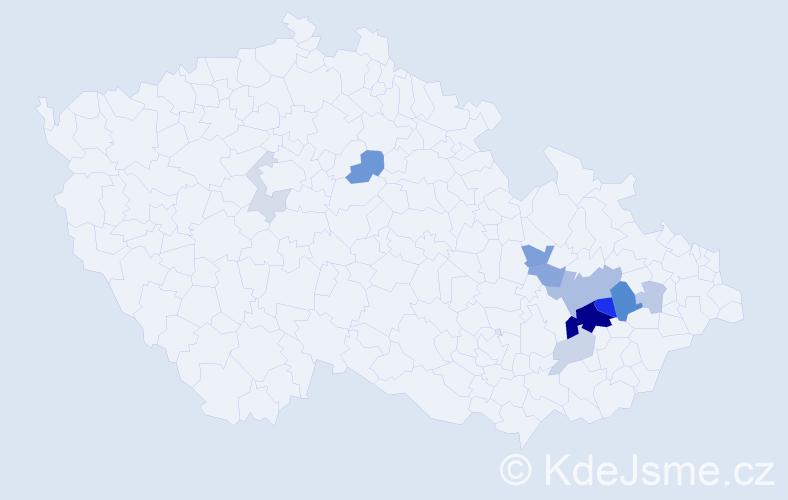Příjmení: 'Běhalík', počet výskytů 29 v celé ČR