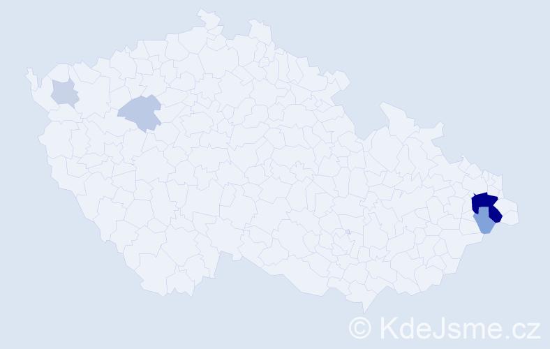 Příjmení: 'Embertová', počet výskytů 18 v celé ČR