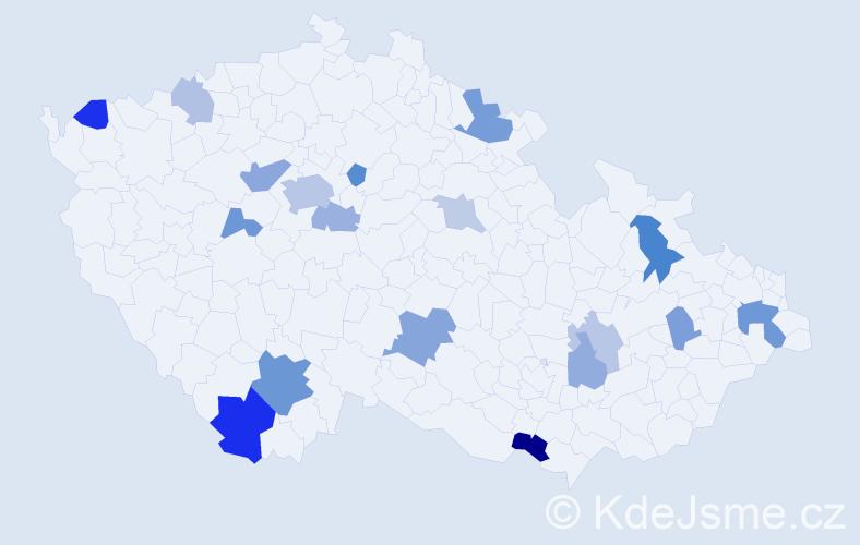 Příjmení: 'Ivanko', počet výskytů 37 v celé ČR