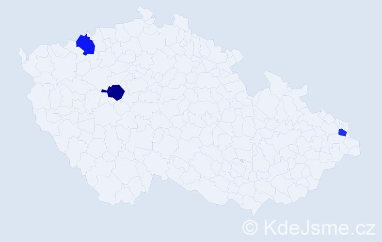 Příjmení: 'Bľachová', počet výskytů 3 v celé ČR