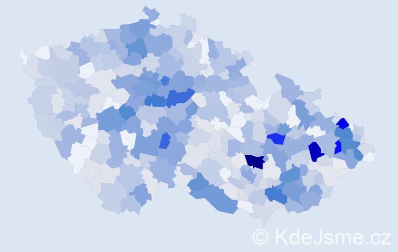 Příjmení: 'Kuchař', počet výskytů 2549 v celé ČR