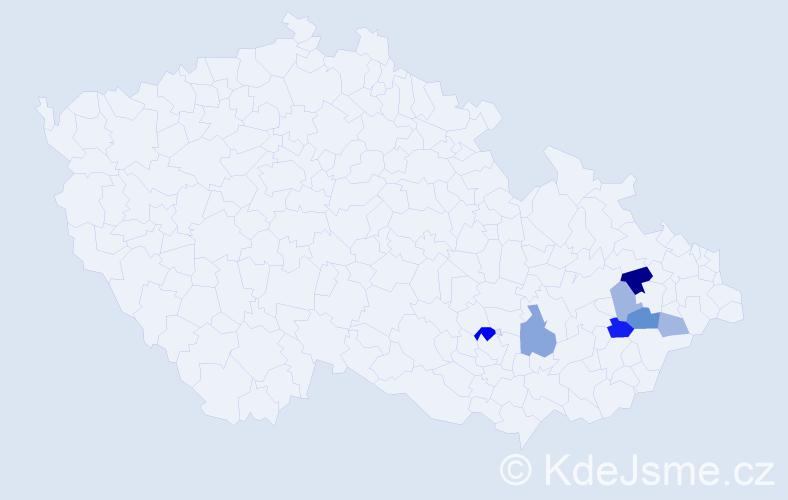 Příjmení: 'Baďuříková', počet výskytů 15 v celé ČR