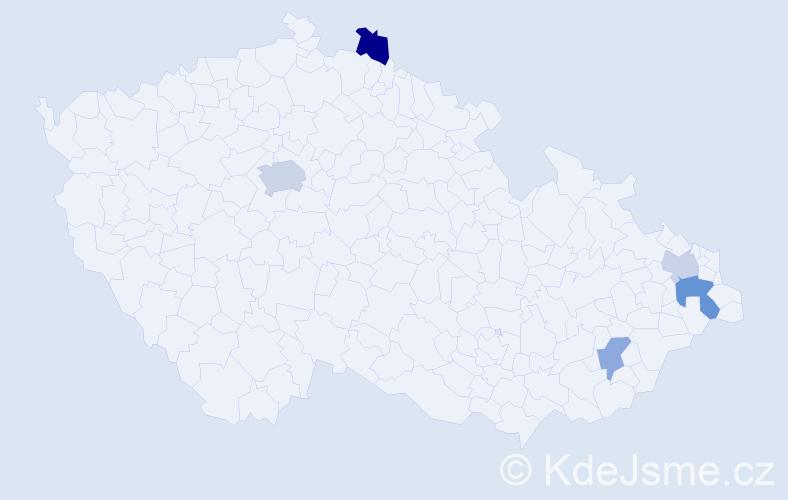 Příjmení: 'Dančevský', počet výskytů 17 v celé ČR