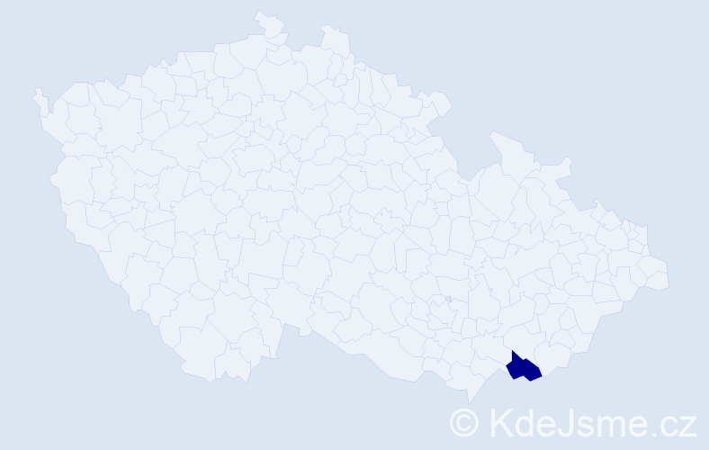 """Příjmení: '""""Ivánková Hendrychová""""', počet výskytů 1 v celé ČR"""