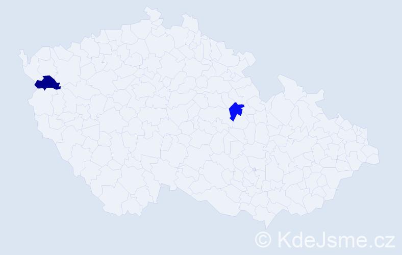 Příjmení: 'Eštočinová', počet výskytů 2 v celé ČR