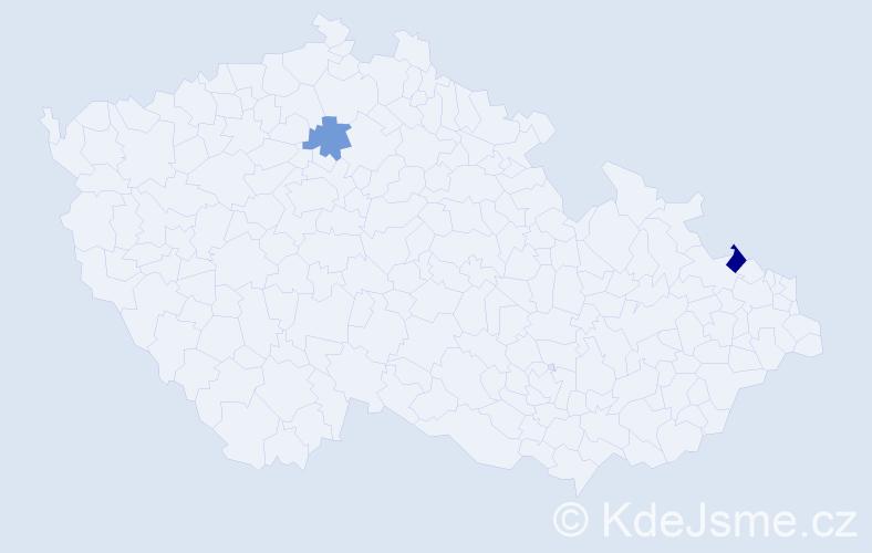 Příjmení: 'Igbokwe', počet výskytů 5 v celé ČR