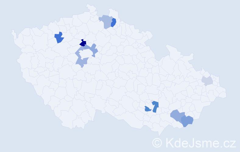 Příjmení: 'Ilenčíková', počet výskytů 13 v celé ČR