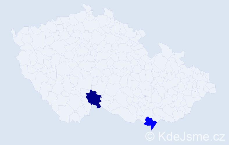 Příjmení: 'Braunsteinerová', počet výskytů 2 v celé ČR