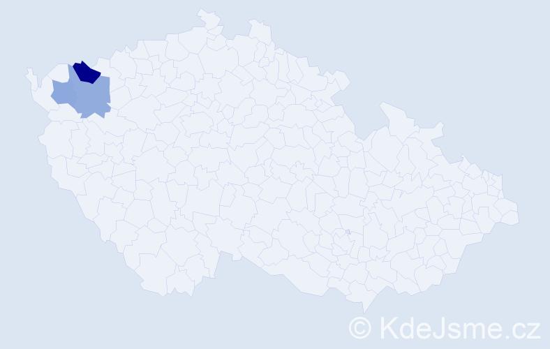 Příjmení: 'Haladiová', počet výskytů 4 v celé ČR