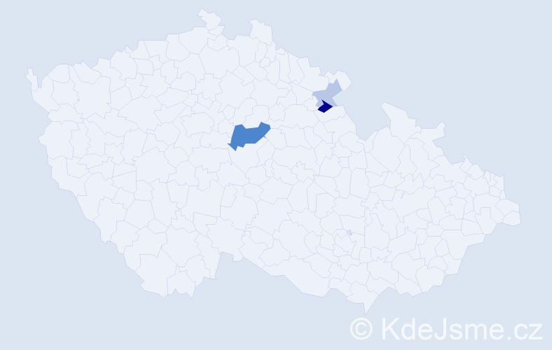 Příjmení: 'Bauerfeindová', počet výskytů 8 v celé ČR