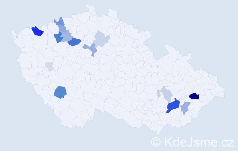 Příjmení: 'Ešlerová', počet výskytů 35 v celé ČR