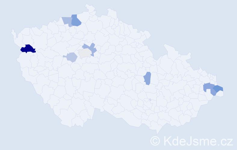 Příjmení: 'Jokelová', počet výskytů 22 v celé ČR