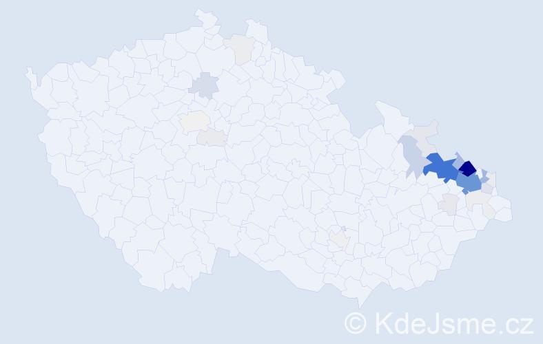 Příjmení: 'Bartusková', počet výskytů 174 v celé ČR